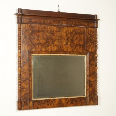 Mantelpiece Mirror Walnut Manufactured in Italy Second Quarter of 1800
