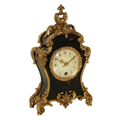 Table Clock Gilded Bronze Made in Switzerland Mid 1900