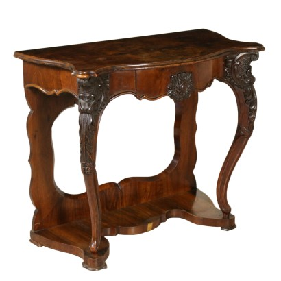 Console Table Louis Philippe Walnut Manufactured in Italy Mid 1800