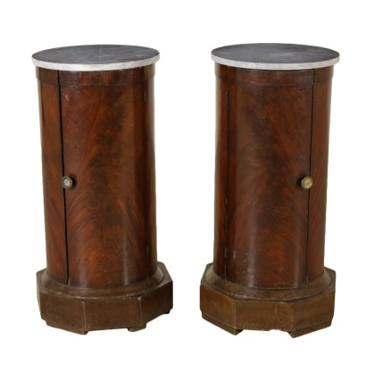 Pair of Empire Columns Mahogany Marble Italy First Quarter of 1800