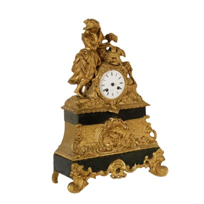 Table Clock Bronze Black Marble Made in France Second Half of 1800