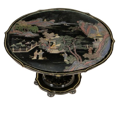 Chinoiserie Coffee Table Ebonized Wood Italy First Half of 1900