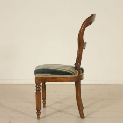 Set of Five Walnut Chairs Italy Second Half of 1800