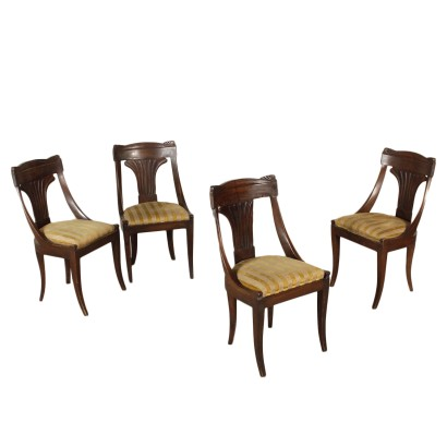 Set of Four Gondola Chairs Walnut Italy First Half of 1800