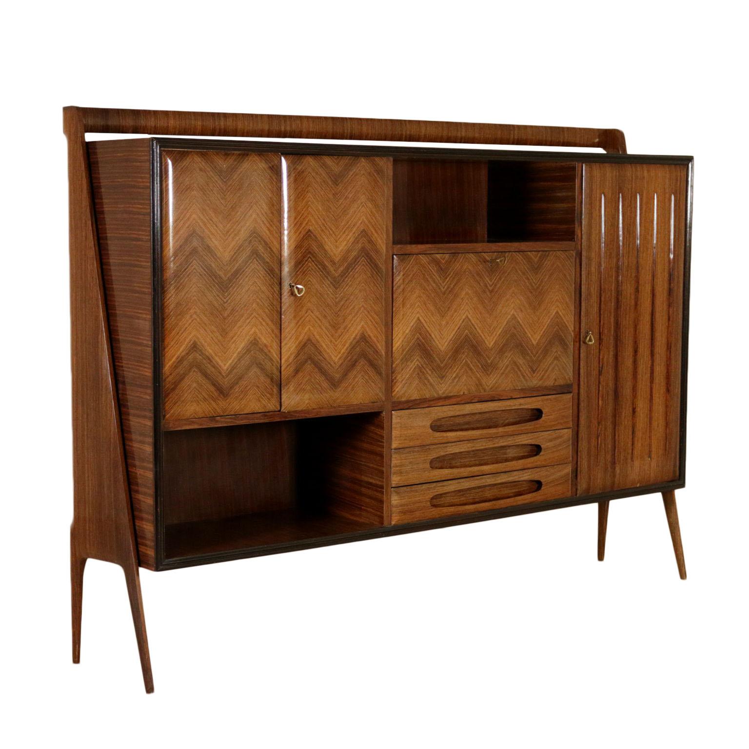 Cupboard Rosewood Veneer Vintage Italy 1950s 1960s