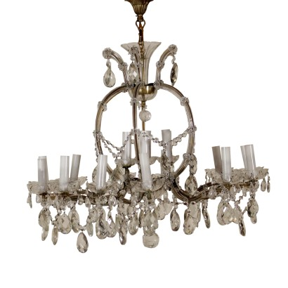 Maria Theresa Chandelier Crystal Glass Italy Early 1900