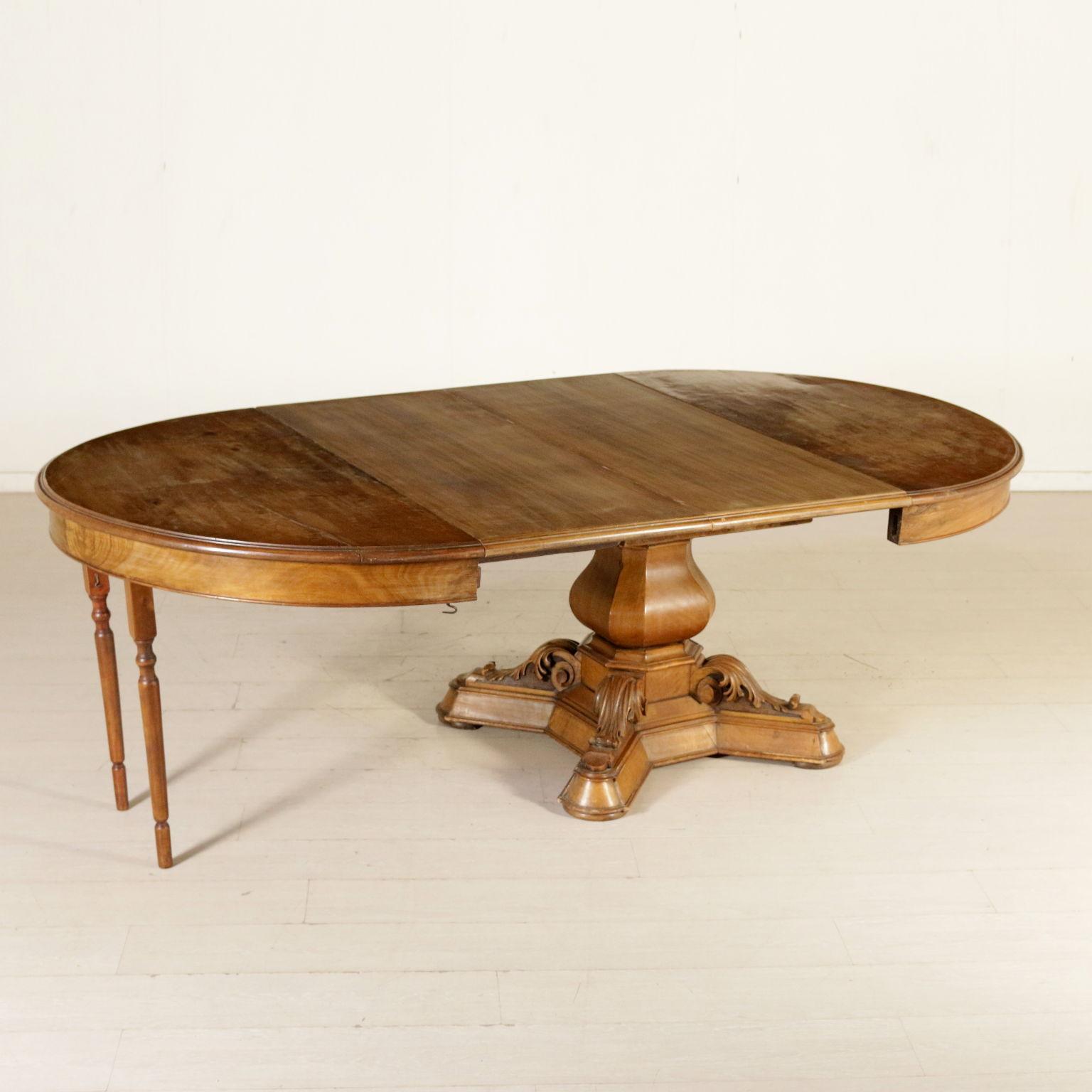 En Extensible Italie Troisième Quart Table Fabriqué Noyer '800 b7yvYf6g