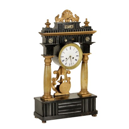 Table Clock Alabaster Gilded Wood Antiques First Half of 1800