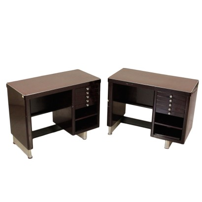 Pair of Desks Lacquered Metal Formica Vintage Italy 1960s
