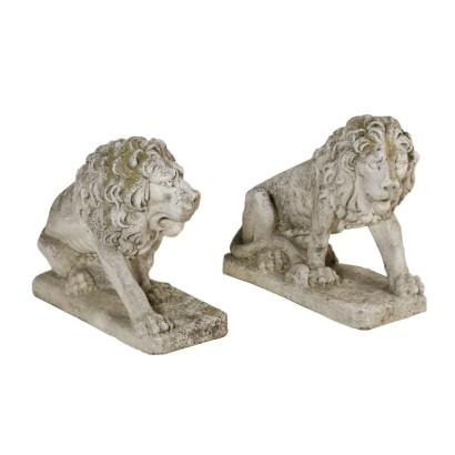 Pair of Lions Manufactured in Italy Second Half of 1900