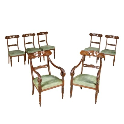 Two Armchairs and Five Chairs Mahogany France Second Quarter of 1800