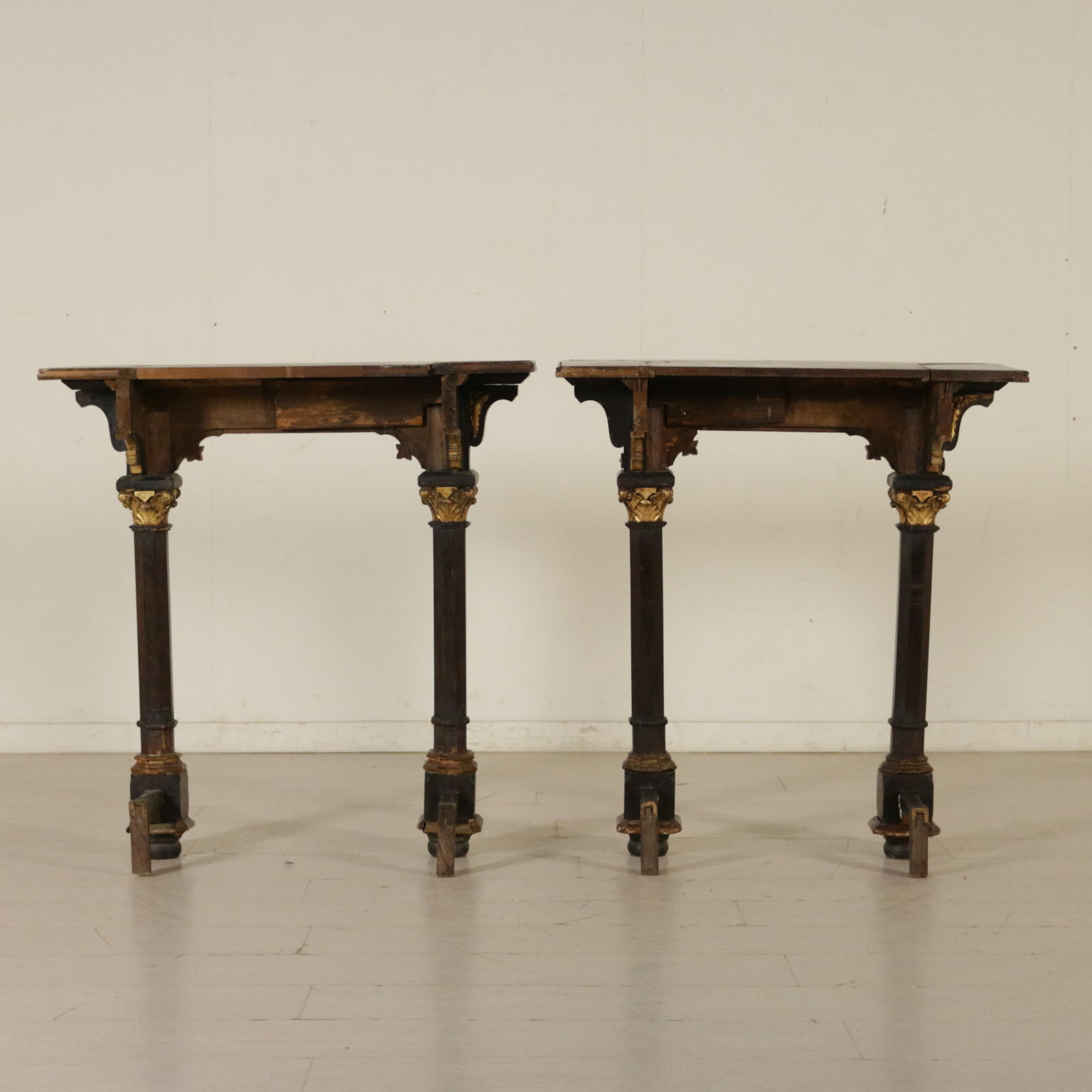 Mobili In Stile Gotico pair of console tables neo-gothic rosewood italy late 1800s