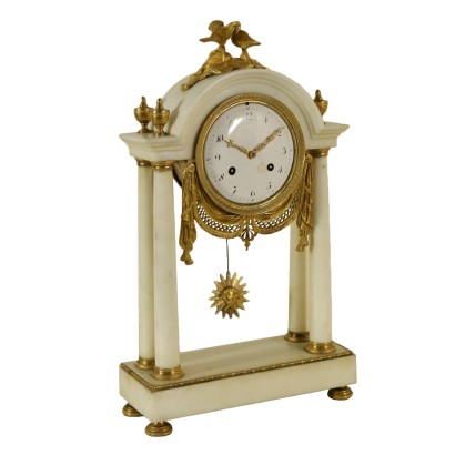 Table Clock Gilded Bronze Marble Italy Late 1700s-Early 1800s