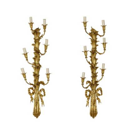 Pair of Sconces Napoleon III Bronze Wood Gilded Italy Mid 1800s