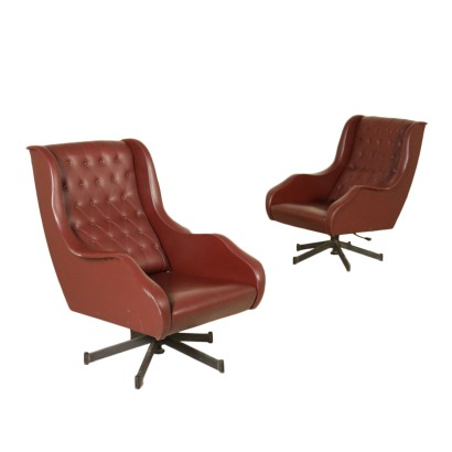 Pair of Swivel Armchairs Leatherette Metal Vintage Italy 1960s