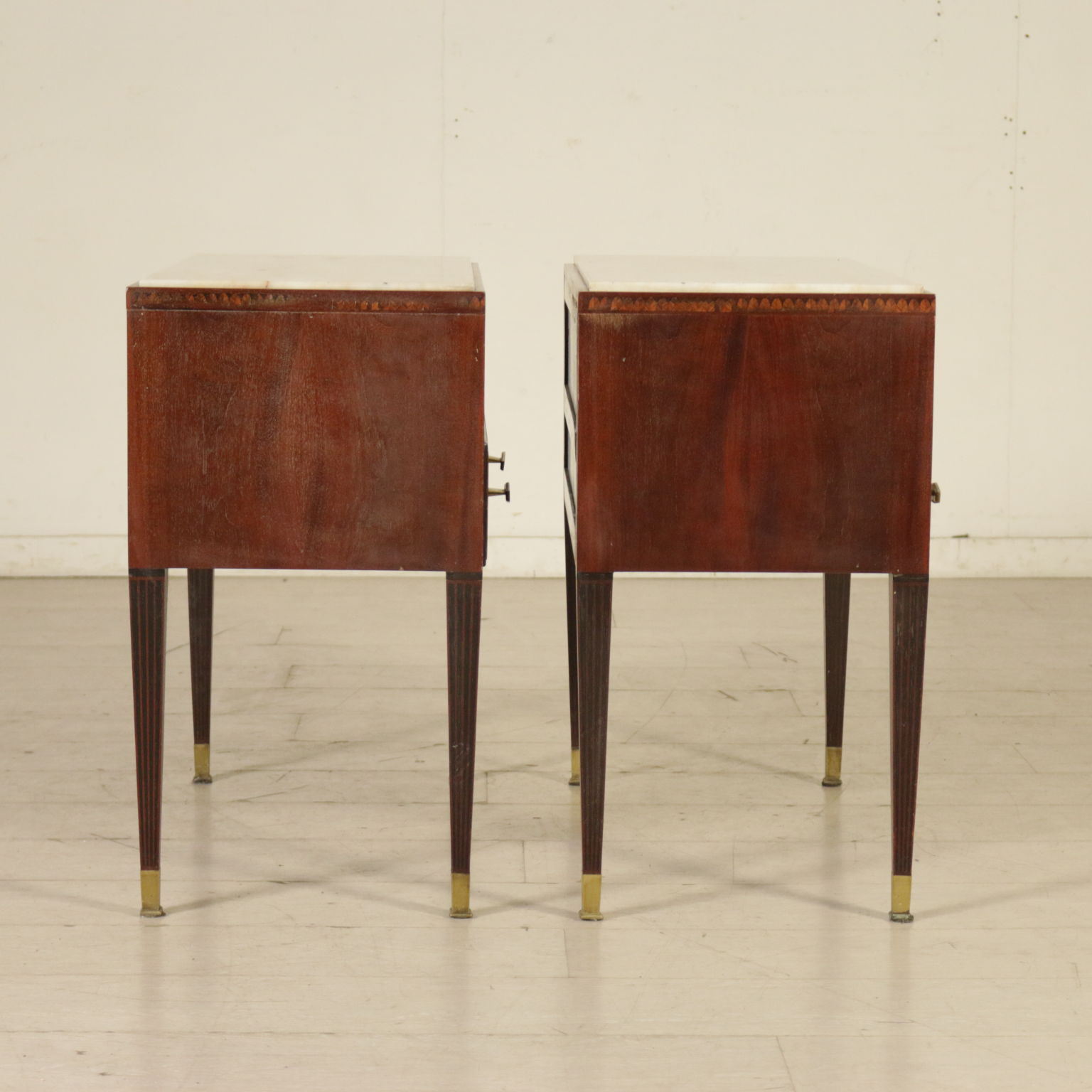 Pair Of Nightstand Mahogany Brass Marble Vintage Italy 1950s