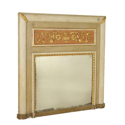Neoclassical Mantelpiece Mirror Gilded Wood Italy Late 1700s