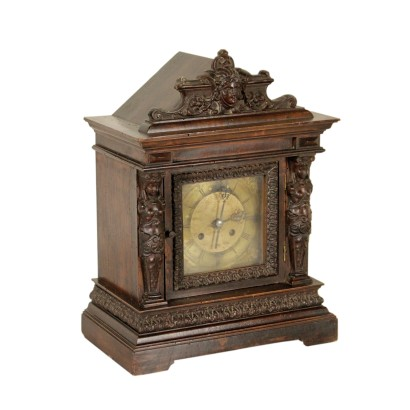 Table Clock Walnut Manufactured in Germany Late 1800s