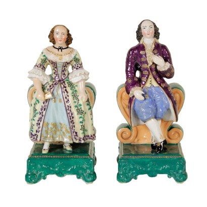 Pair of Perfume Holders Porcelain France Second Half 1800s