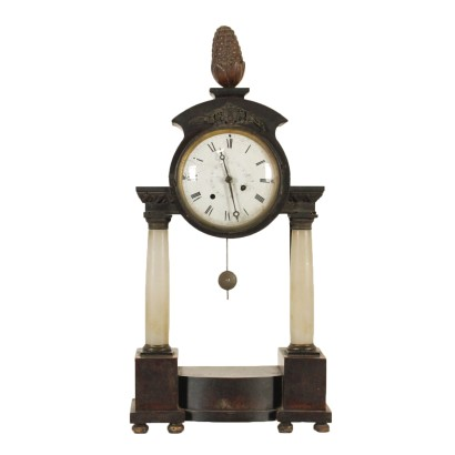Table Clock Alabaster Bronze Wood First Half of 1800s