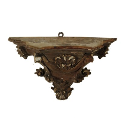 Shaped Shelf Carved Wood Manufactured in Italy 18th Century