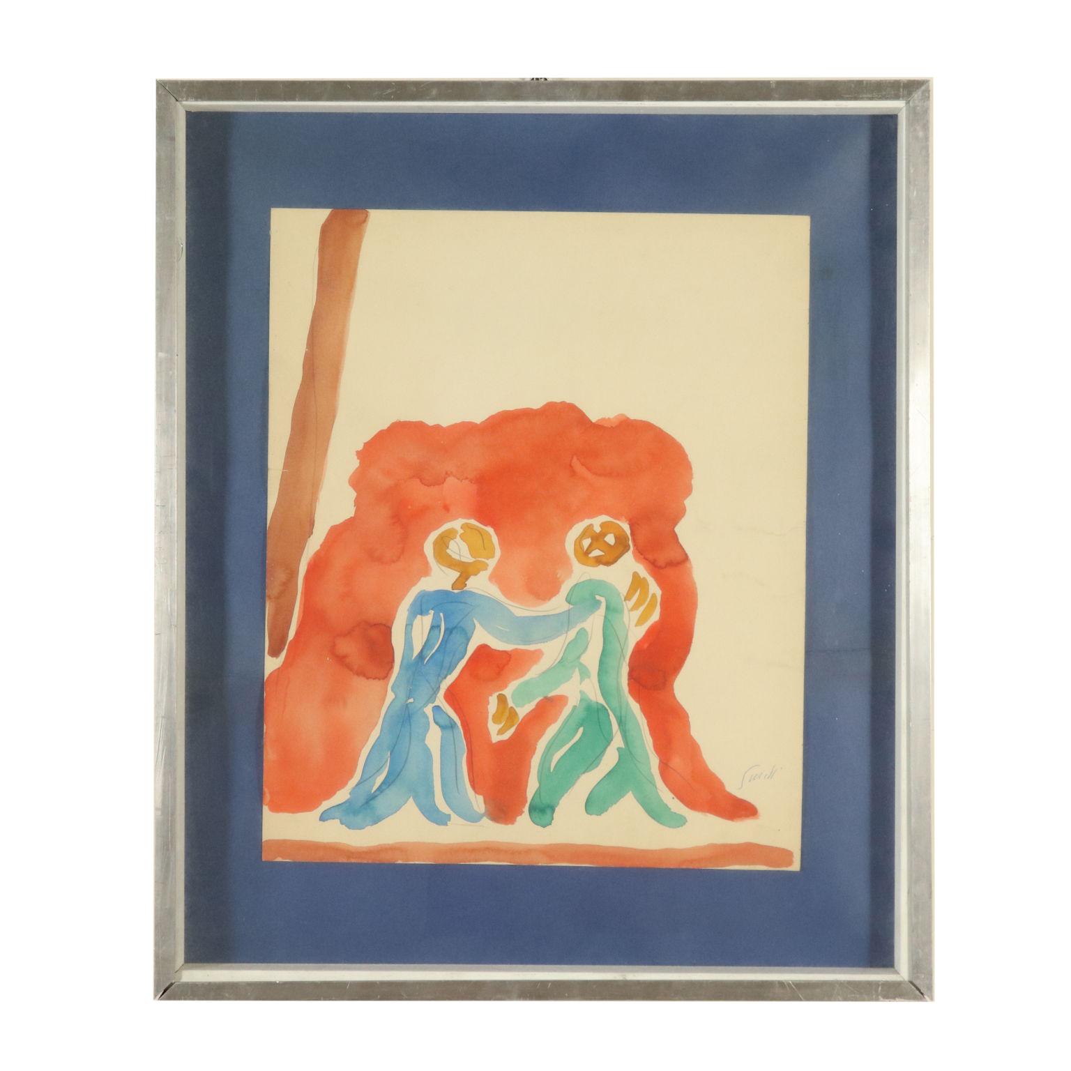 Acquarello di Virgilio Guidi - Novecento - Arte - dimanoinmano.it dcf91e9eb6a4