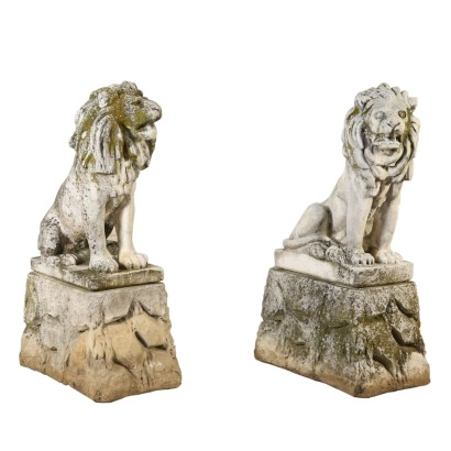Pair of Lions Chippings Italy First Half of 1900s