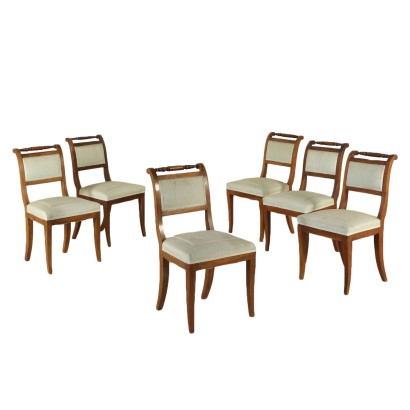 Set of Six Chairs Restoration Italy Second Quarter of 1800s