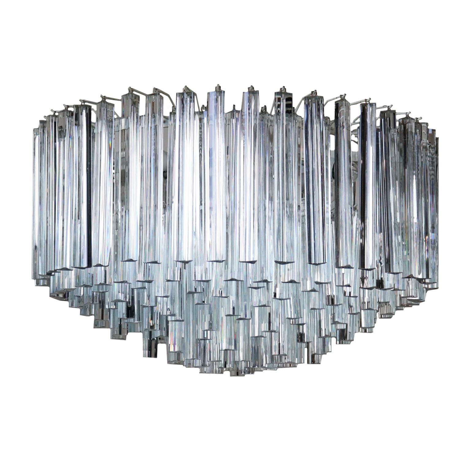 Lustre Metal Cristal Vintage Fabrique En Italie Annees 70 80