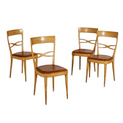 Set of Four Chairs Beech Leatherette Vintage Italy 1950s-1960s