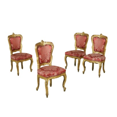 Set of Four Chairs Gilded Wood Italy Late 1800s