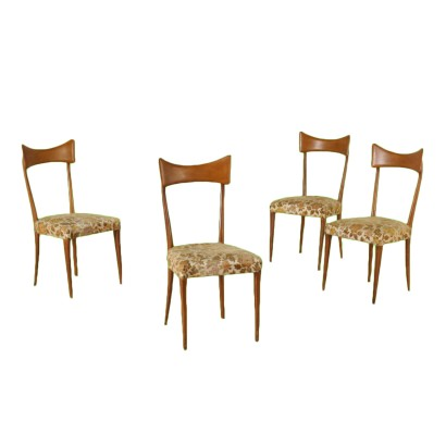 Set of Four Chairs Beech Fabric Vintage Italy 1950s-1960s