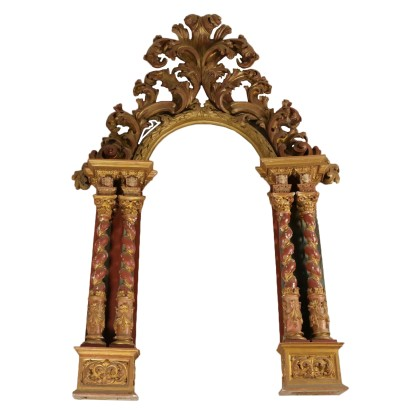 Impressive Portal Lacquered Gilded Wood 19th Century