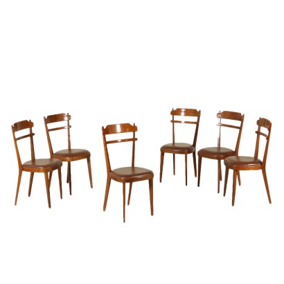 Six Chairs Stained Beech Leatherette Vintage Italy 1960s