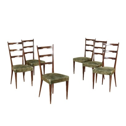 Six Chairs Stained Beech Velvet Vintage Italy 1950s