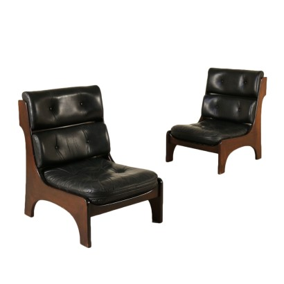 Pair of Armchairs Mahogany Leather Vintage Italy 1970s