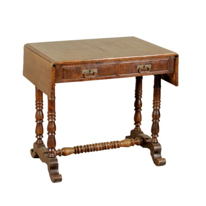 Writing Desk Walnut Manufactured in Italy Mid 1800s