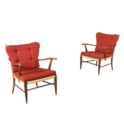 Pair of Armchairs Paolo Buffa Style Raffia Vintage Italy 1950s