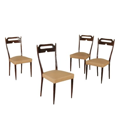 Four Chairs Stained Beech Leatherette Vintage Italy 1950s