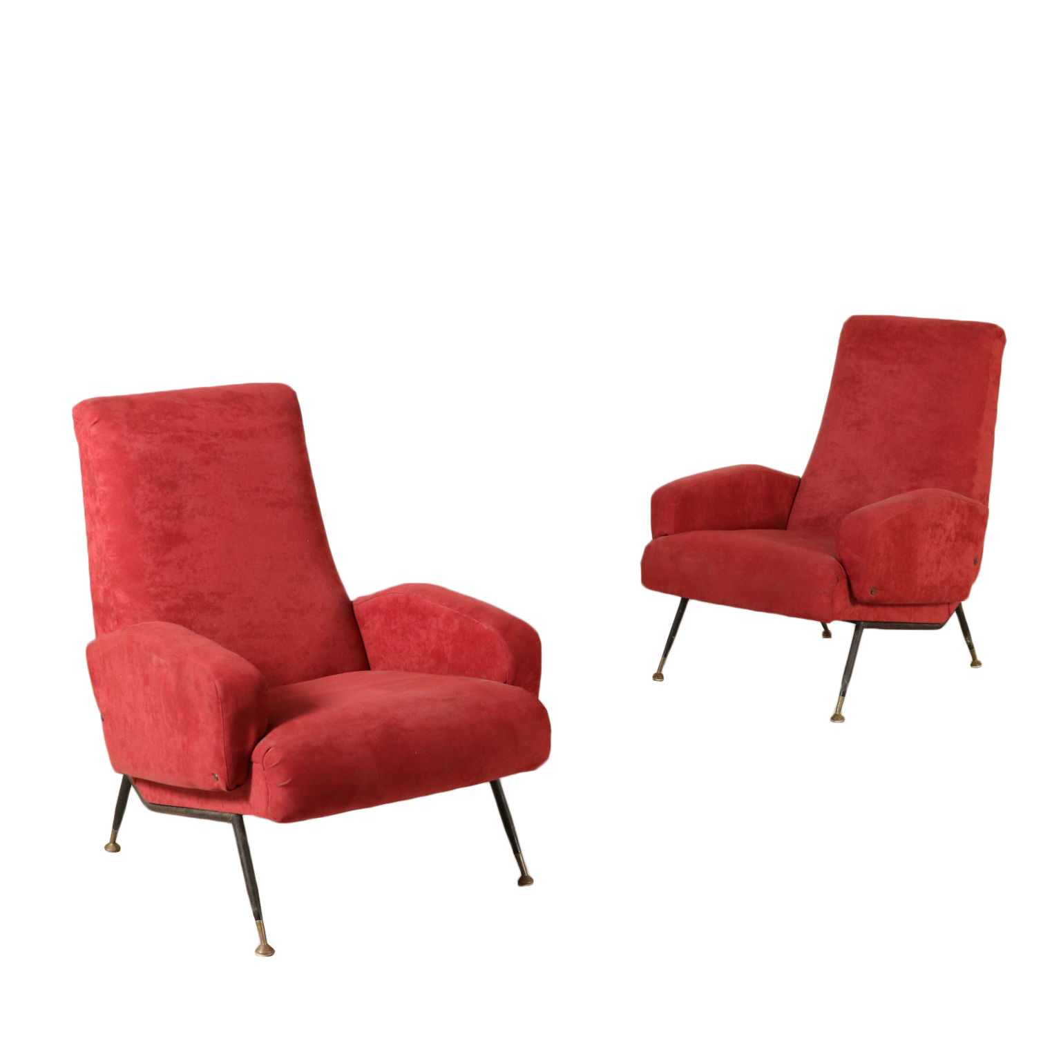 Pair of armchairs foam padding fabric vintage italy 1950s 1960s armchairs modern design dimanoinmano it