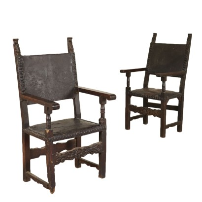 Pair of Thrones Solid Walnut Poplar Late 1600s