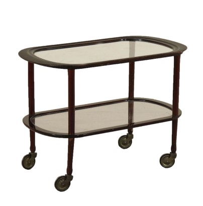 Service Cart Stained Ebony Glass Vintage Italy 1950s-1960s
