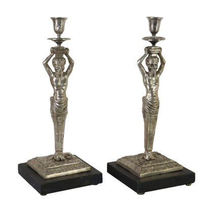 Pair of Candlesticks Silver-Plated Bronze Late 1800s