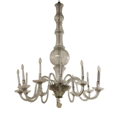 Large Antique Chandelier Glass Murano Italy Late 1800s