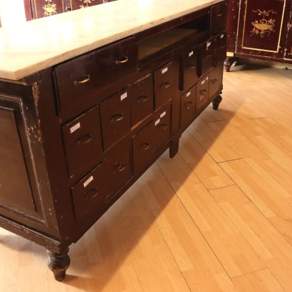 Antique Drugstore Cabinet Chestnut Italy Early 1800s