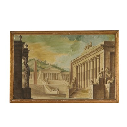 Architectural Landscape Gilded Frame Tempera 19th Century