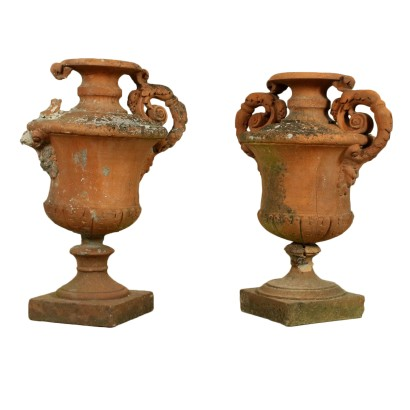 Pair of Finely Worked Terracotta Amphorae Italy 19th Century