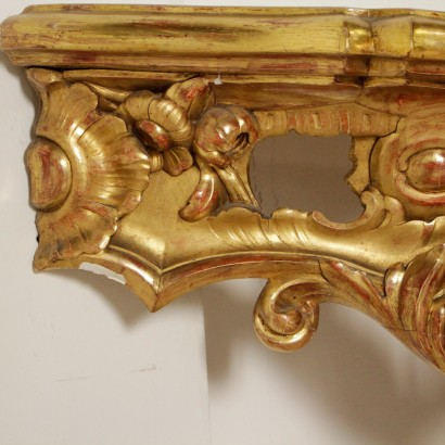 Drop Shaped Console Lacquered Gilded Wood Marble Naples Italy Mid 1700