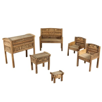 Beech Rustic Living Room with Geometrical Carvings Italy Early 1900