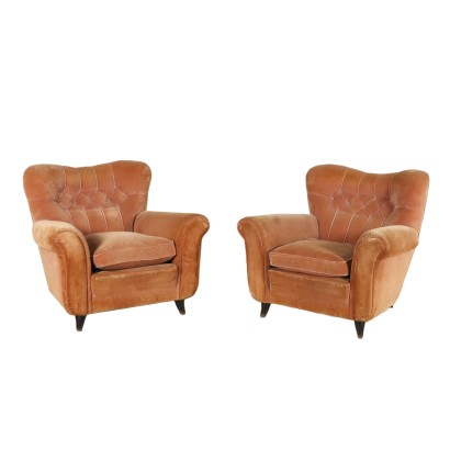 Pair of Armchairs Springs Feathers Velvet Vintage Italy 1950s